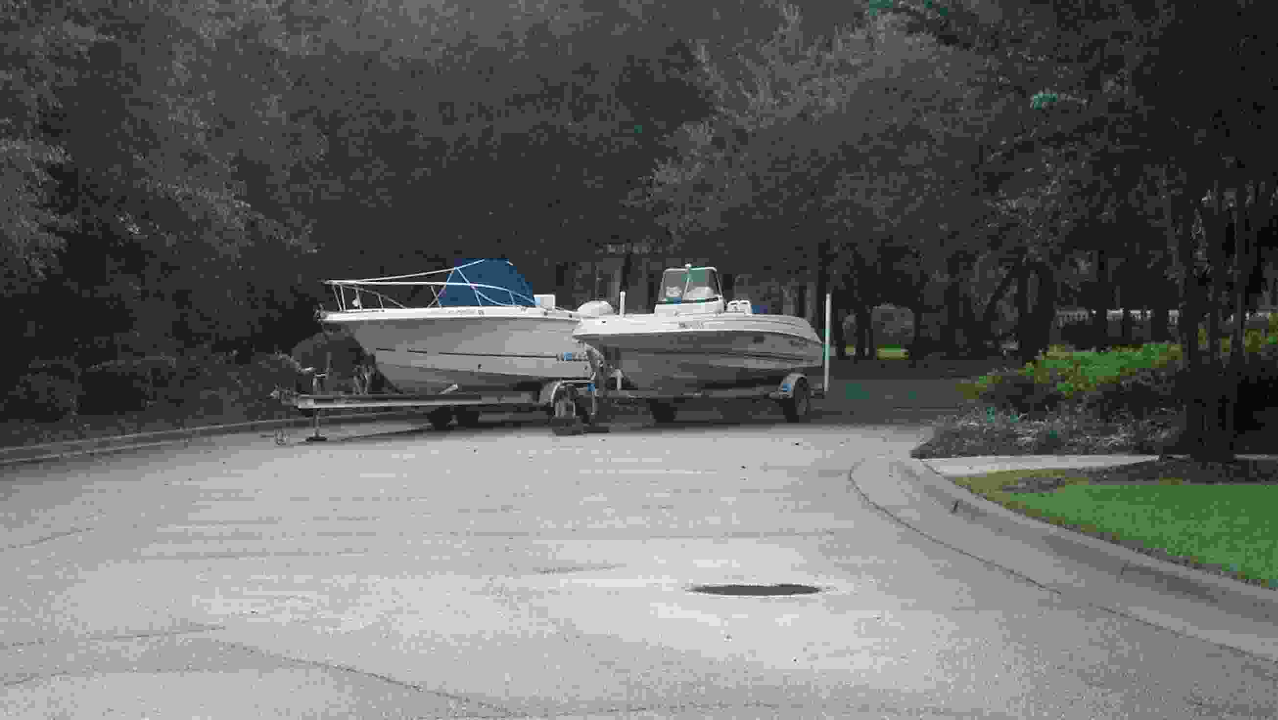 boats in pool parking lot